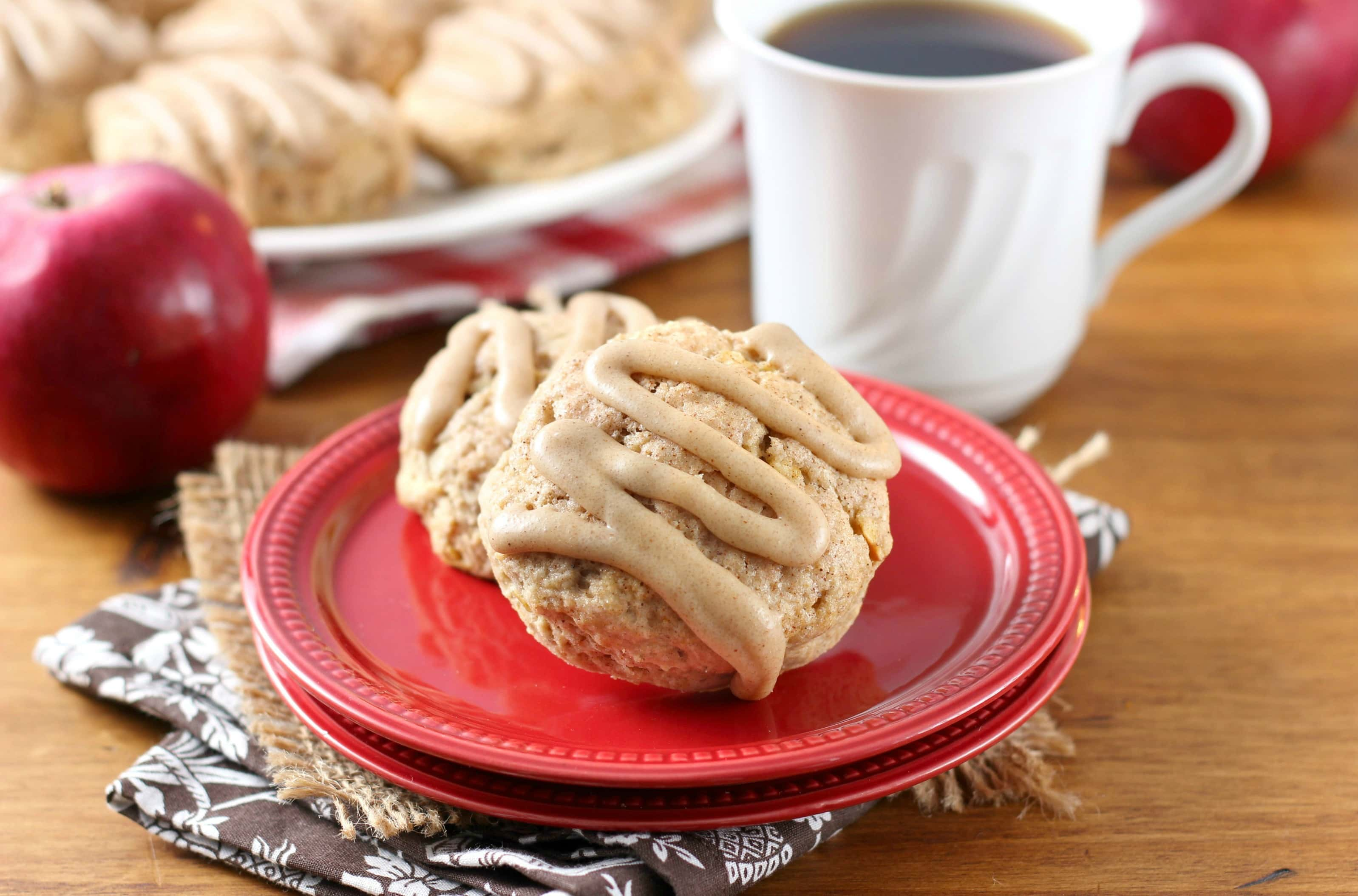 Apple Cider Scones with Cinnamon Brown Sugar Glaze Recipe from A Kitchen Addiction