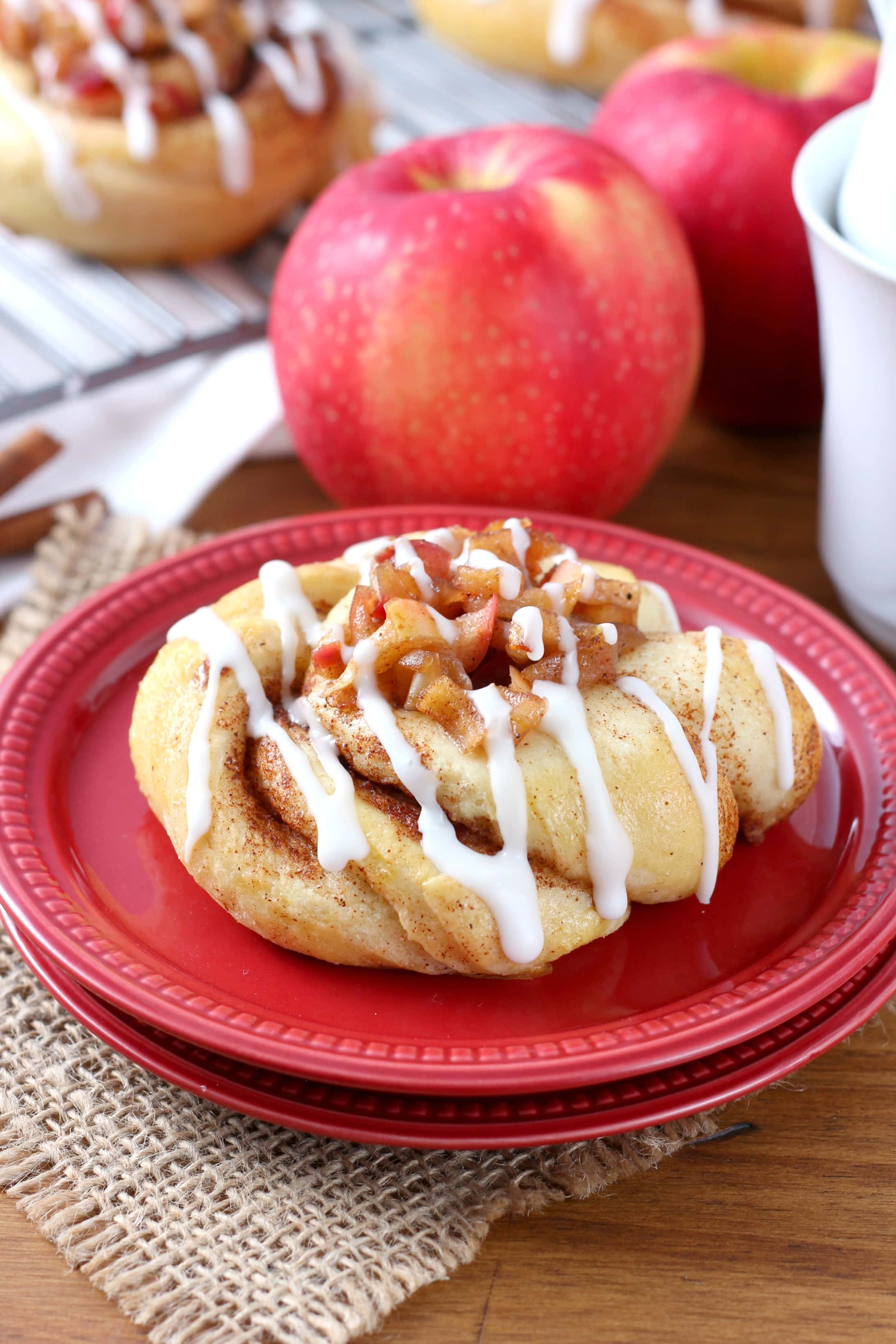 Tender, flaky Apple Pie Filled Cinnamon Twists Recipe from A Kitchen Addiction