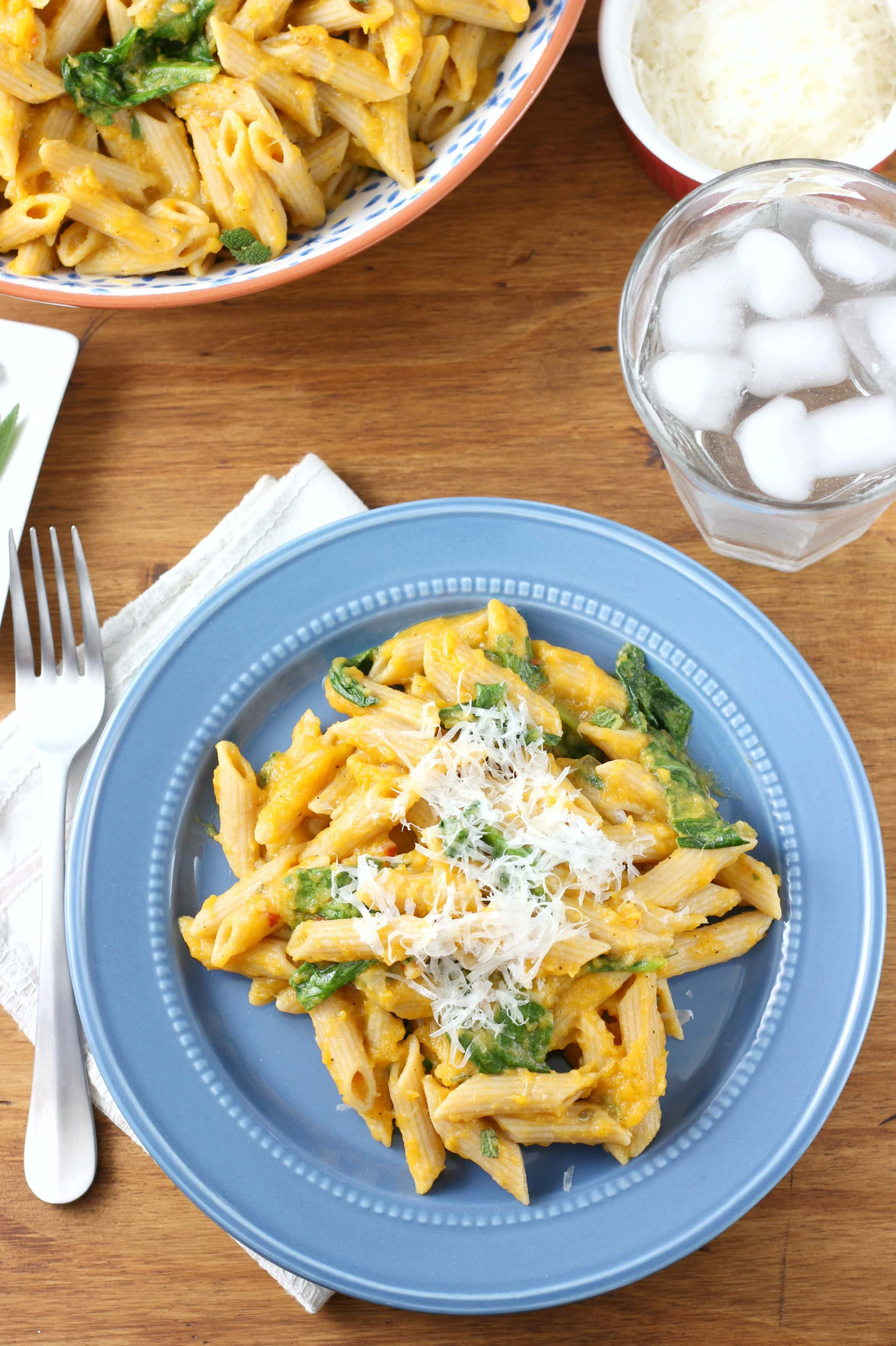 Creamy Butternut Penne Pasta with Spinach and Parmesan Recipe from A Kitchen Addiction