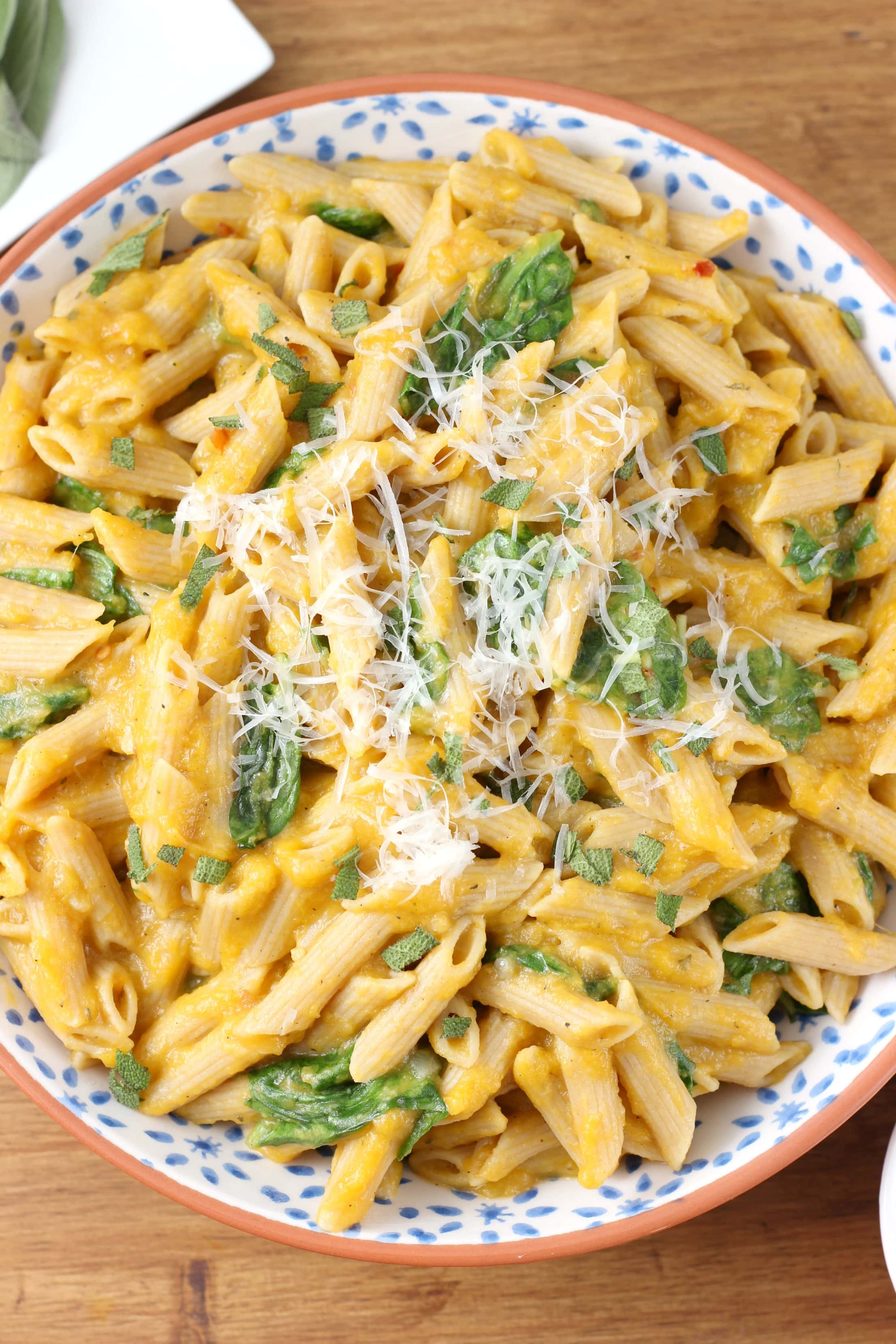 Creamy Butternut Penne with Spinach and Parmesan Recipe from A Kitchen Addiction