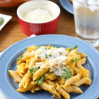 Creamy Butternut Penne with Spinach and Parmesan
