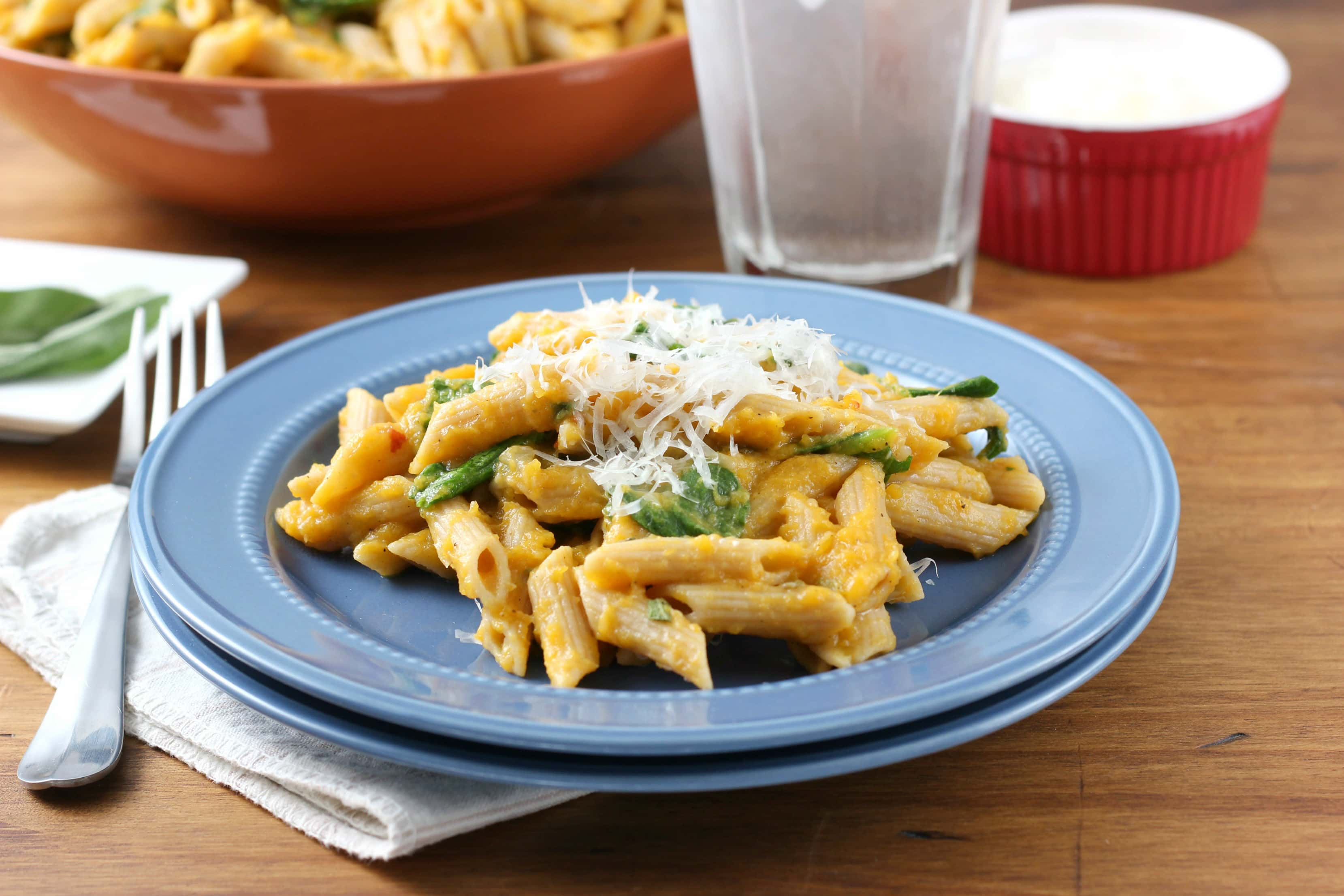 Easy Creamy Butternut Penne with Spinach and Parmesan Recipe from A Kitchen Addiction