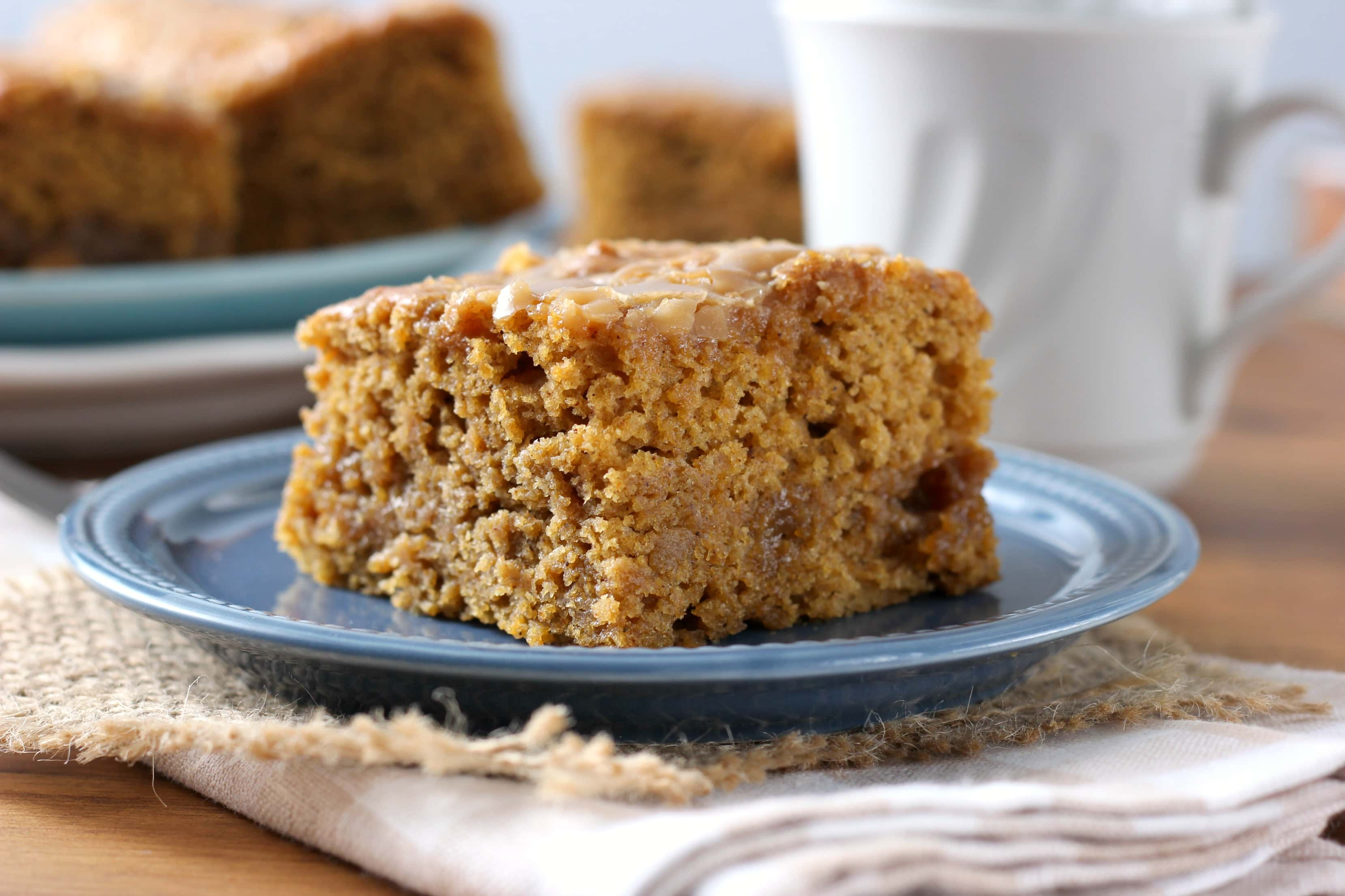 Gooey Salted Caramel Pumpkin Cake Recipe from A Kitchen Addiction