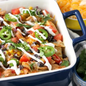 Easy Loaded Southwestern Pork Nachos Recipe from A kitchen Addiction
