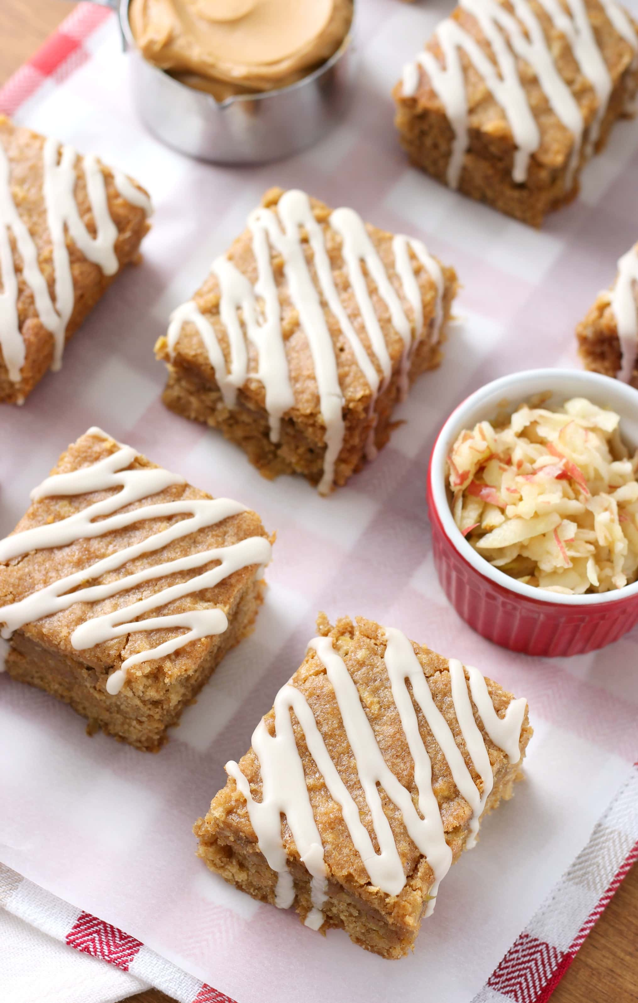 Whole Wheat Maple Glazed Apple Peanut Butter Bars Recipe from A Kitchen Addiction
