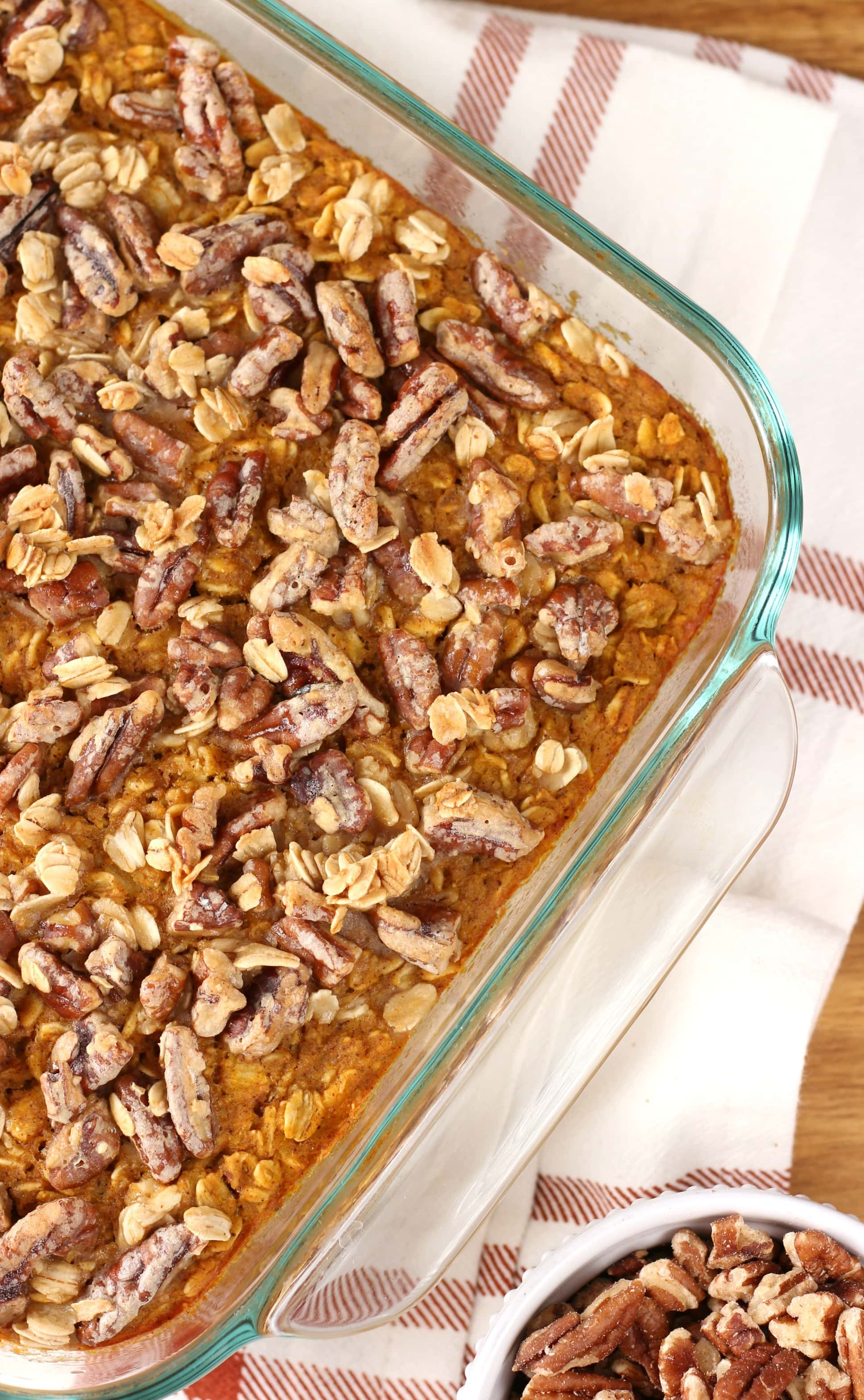 Easy Maple Pecan Pumpkin Baked Oatmeal Recipe from A Kitchen Addiction