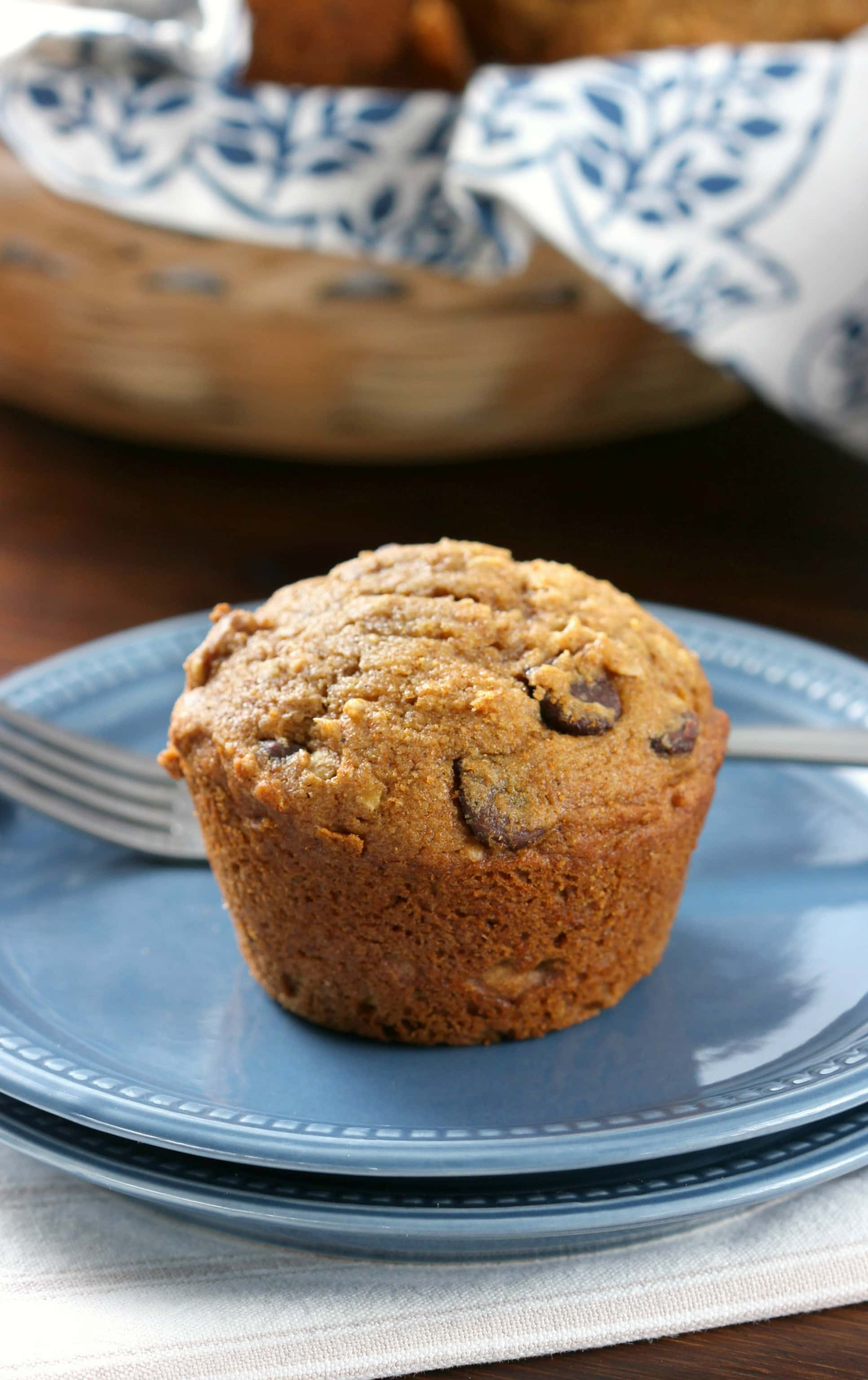 Easy One Bowl Chocolate Chip Pumpkin Muffins Recipe from A Kitchen Addiction