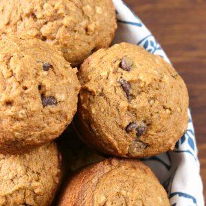 One Bowl Chocolate Chip Pumpkin Muffins {Whole Wheat}