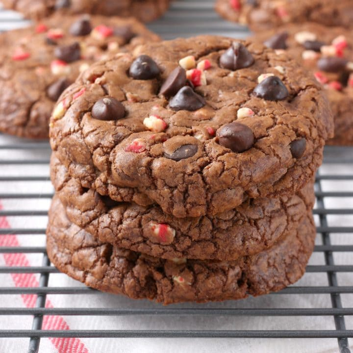 Giant Peppermint Chocolate Fudge Cookies