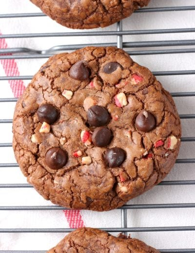 Giant Peppermint Chocolate Fudge Cookies Recipe from A Kitchen Addiction