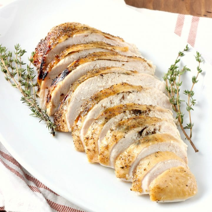Slow Cooker Maple Herb Butter Turkey Breast with Apple Cider Glaze Recipe from A Kitchen Addiction