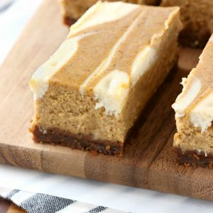 Swirled Pumpkin Pie Cheesecake Bars with Gingersnap Crust