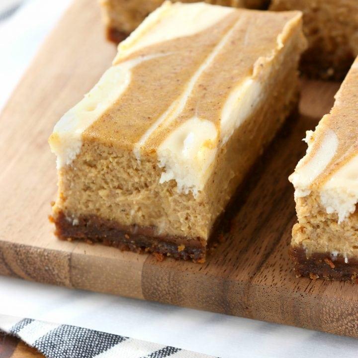 Swirled Pumpkin Pie Cheesecake Bars with Gingersnap Crust