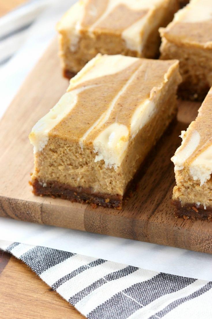 Swirled Pumpkin Pie Cheesecake Bars With Gingersnap Crust A Kitchen Addiction