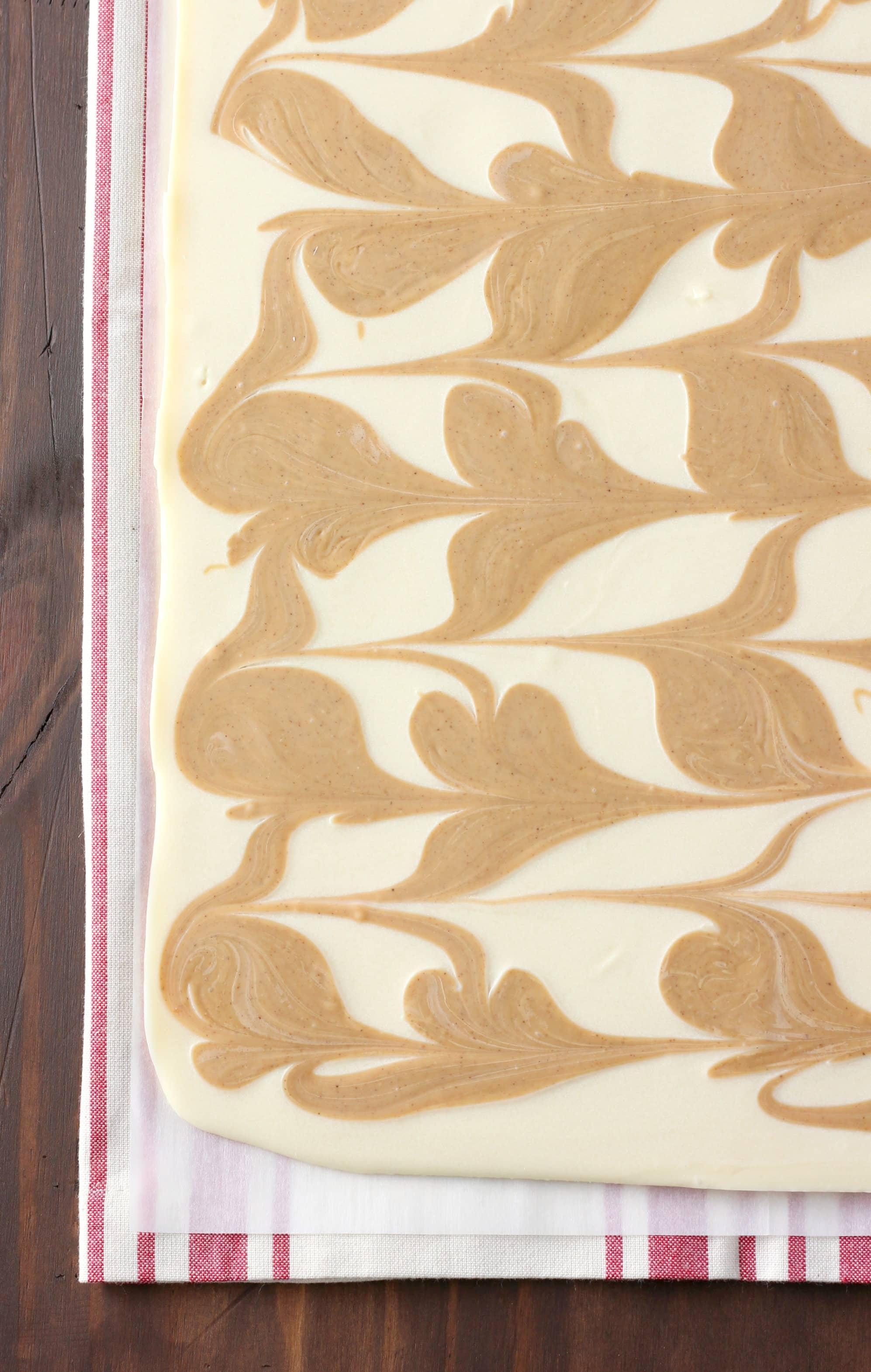 3 Ingredient Swirled Cookie Butter Bark Recipe form A Kitchen Addiction
