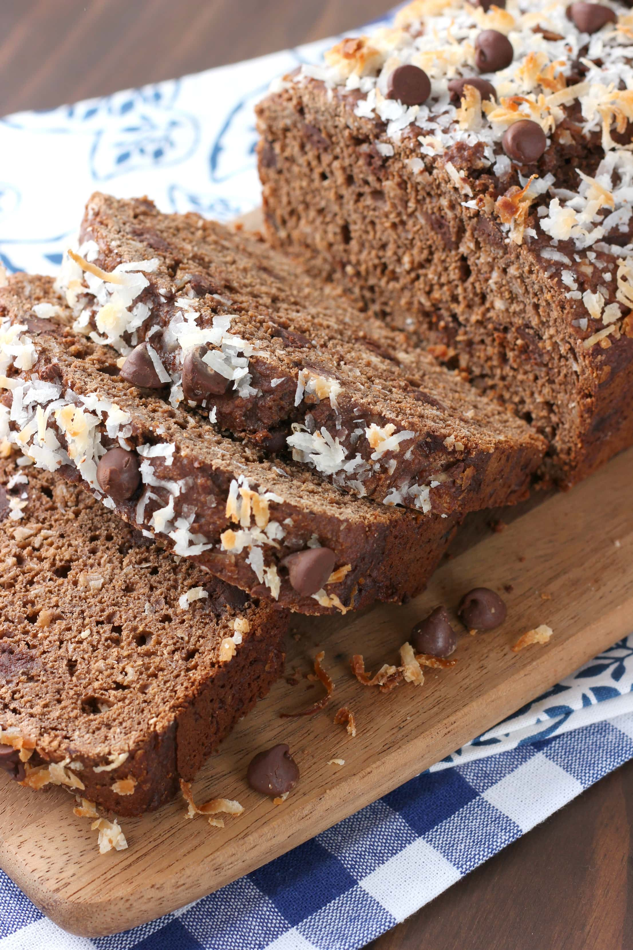 Whole Wheat Chocolate Coconut Quick Bread Recipe from A Kitchen Addiction