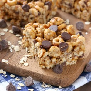 Chocolate Peanut Butter Honey Cereal Bars