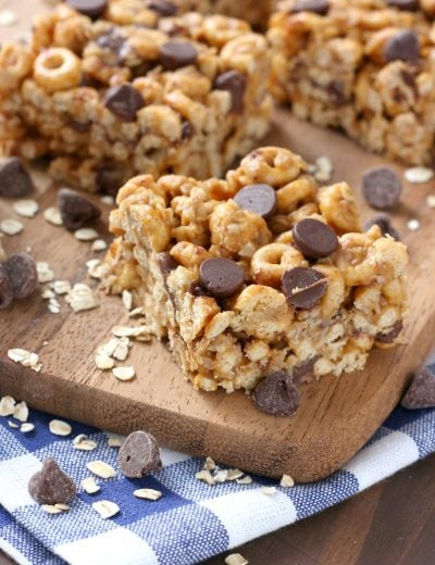 Chocolate Chip Peanut Butter Honey Cereal Bars Recipe from A Kitchen Addiction