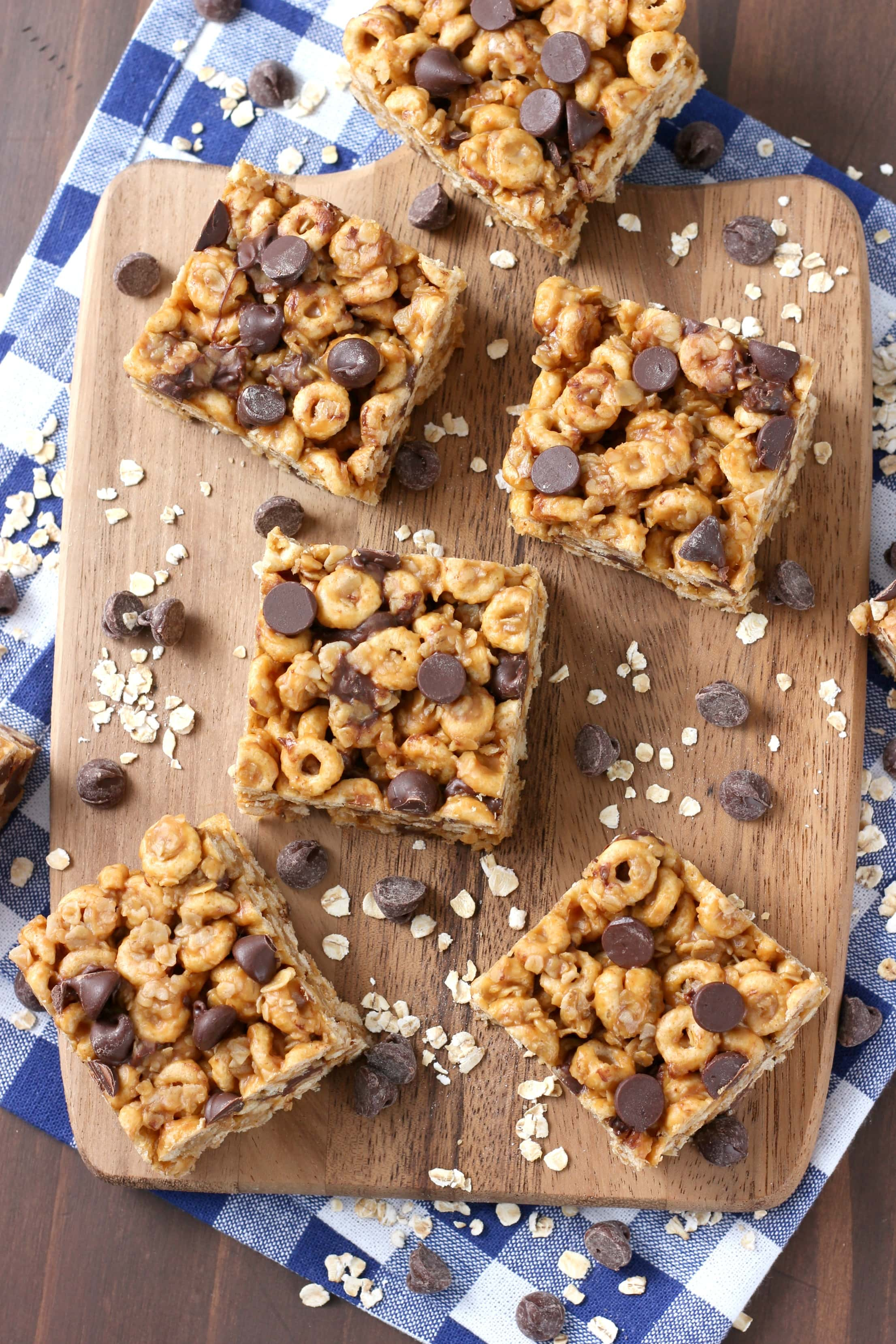 No Bake Chocolate Peanut Butter Honey Cereal Bars Recipe from A Kitchen Addiction