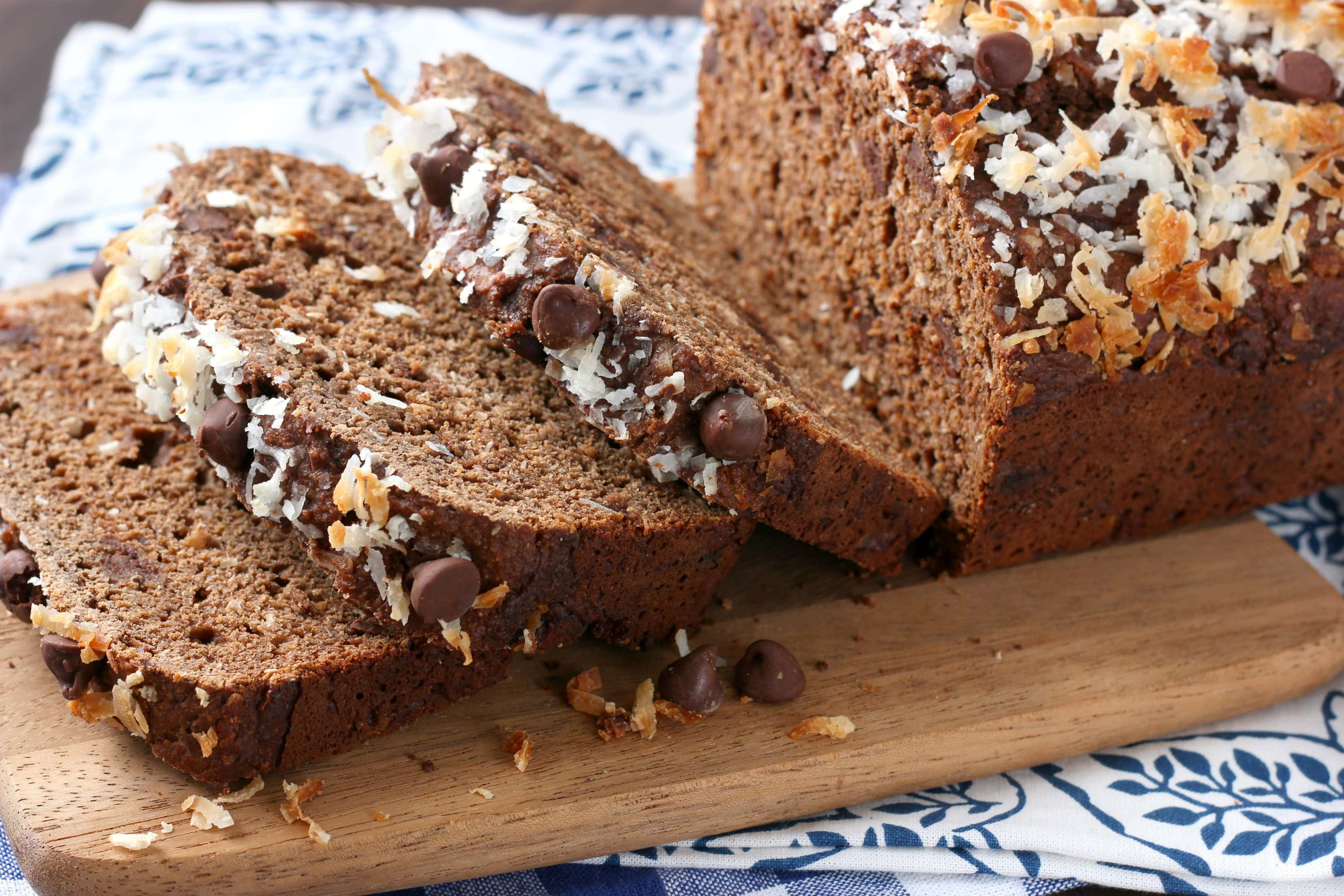 slices of easy chocolate coconut yogurt quick bread on a cutting board