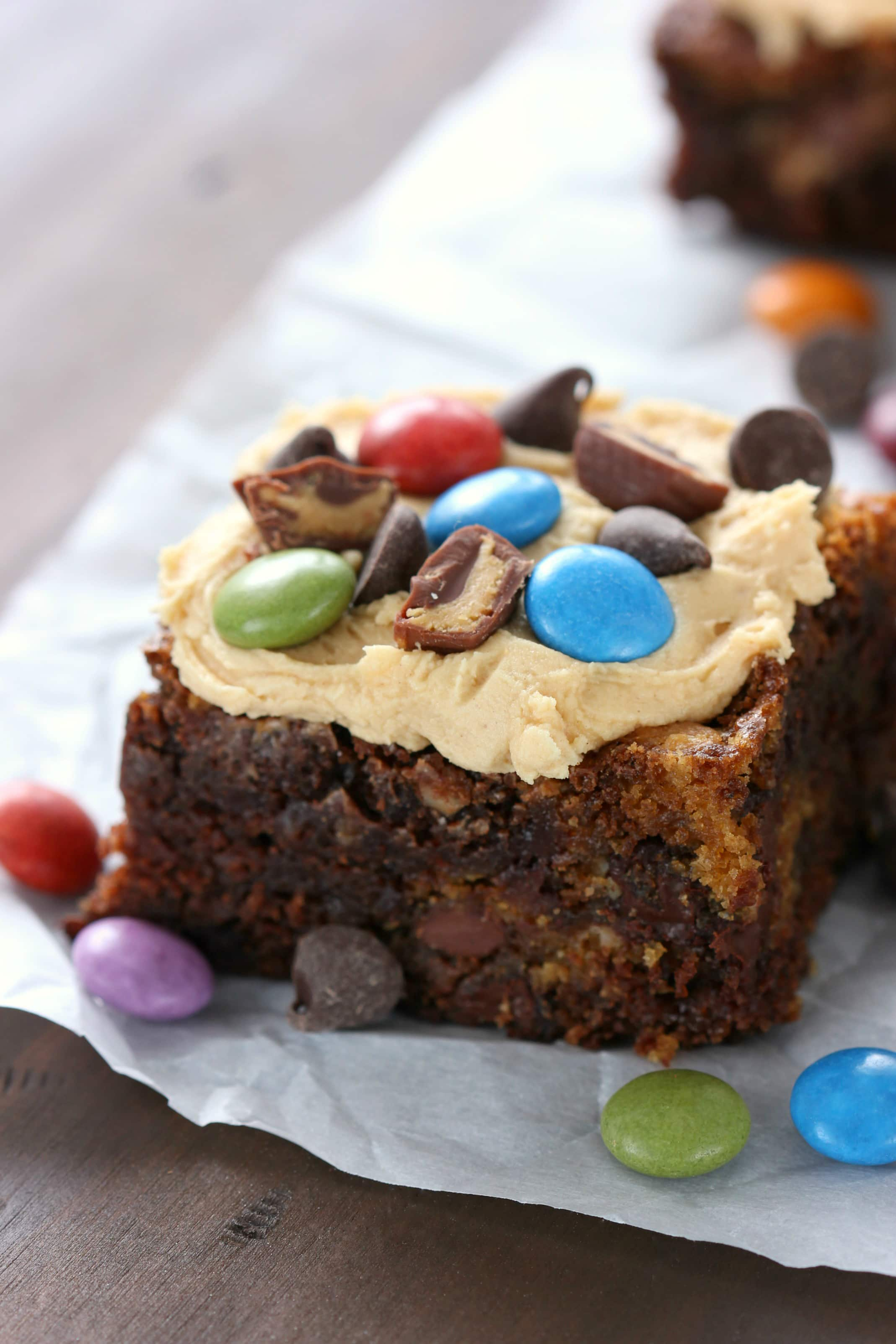 Loaded Peanut Butter Monster Cookie Brownies Recipe from A Kitchen Addiction