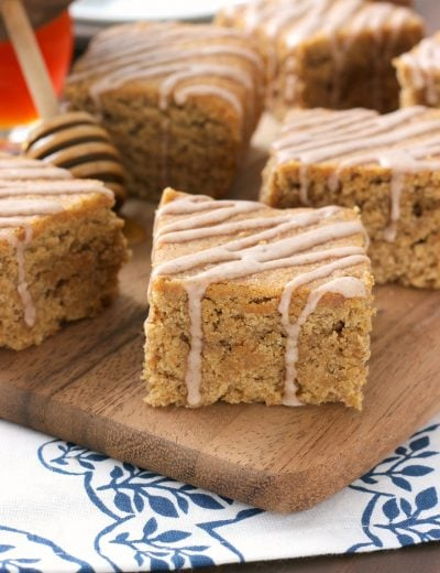 Cinnamon Glazed Banana Peanut Butter Bars Recipe from A Kitchen Addiction