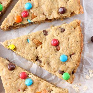Healthier Peanut Butter Granola Cookie Wedges