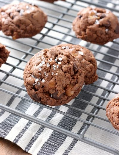 Salted Dark Chocolate Caramel Fudge Cookies