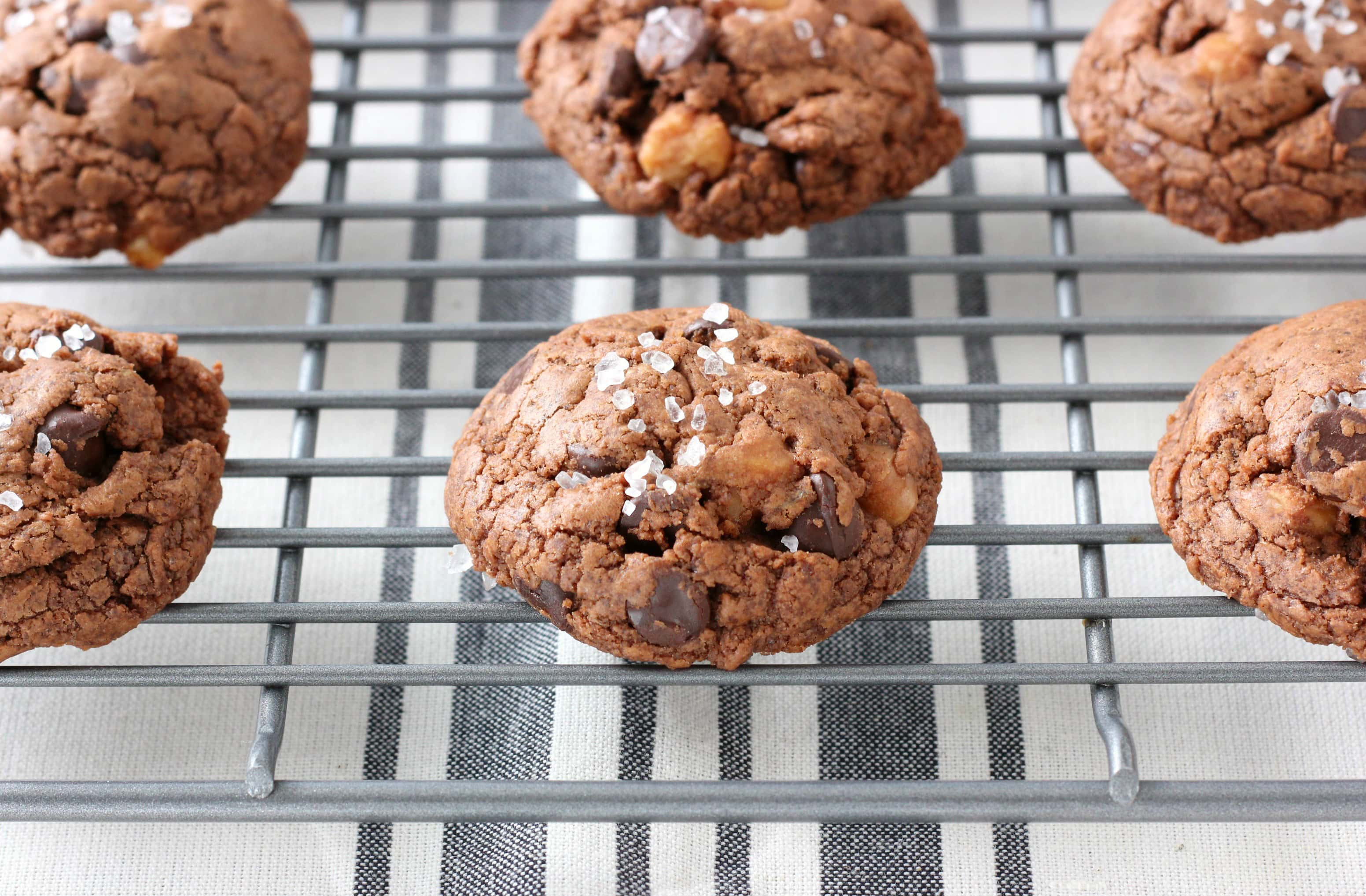 Salted Dark Chocolate Caramel Fudge Cookies Recipe from A Kitchen Addiction