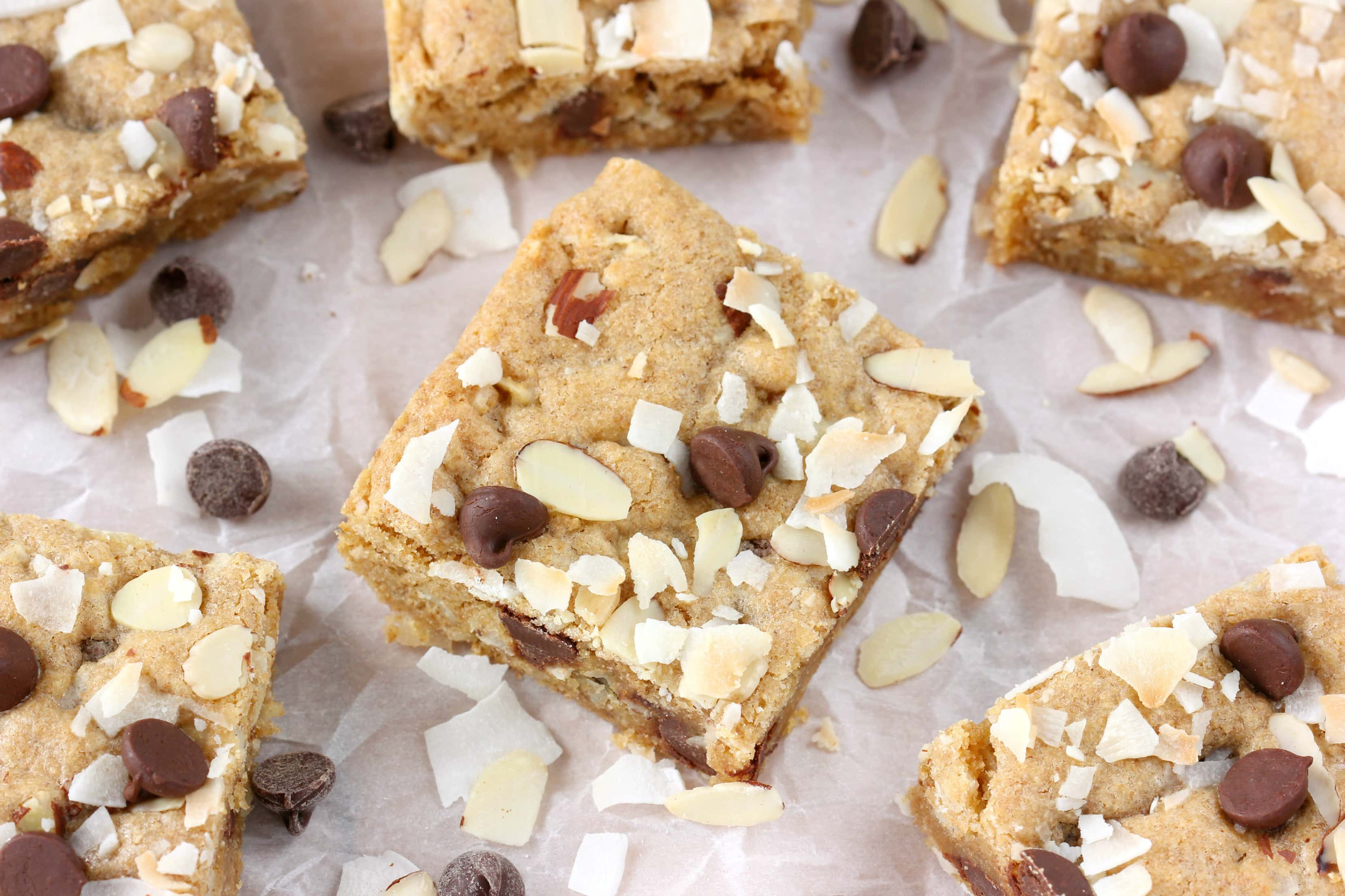 Almond Joy Blondies Recipe from A Kitchen Addiction