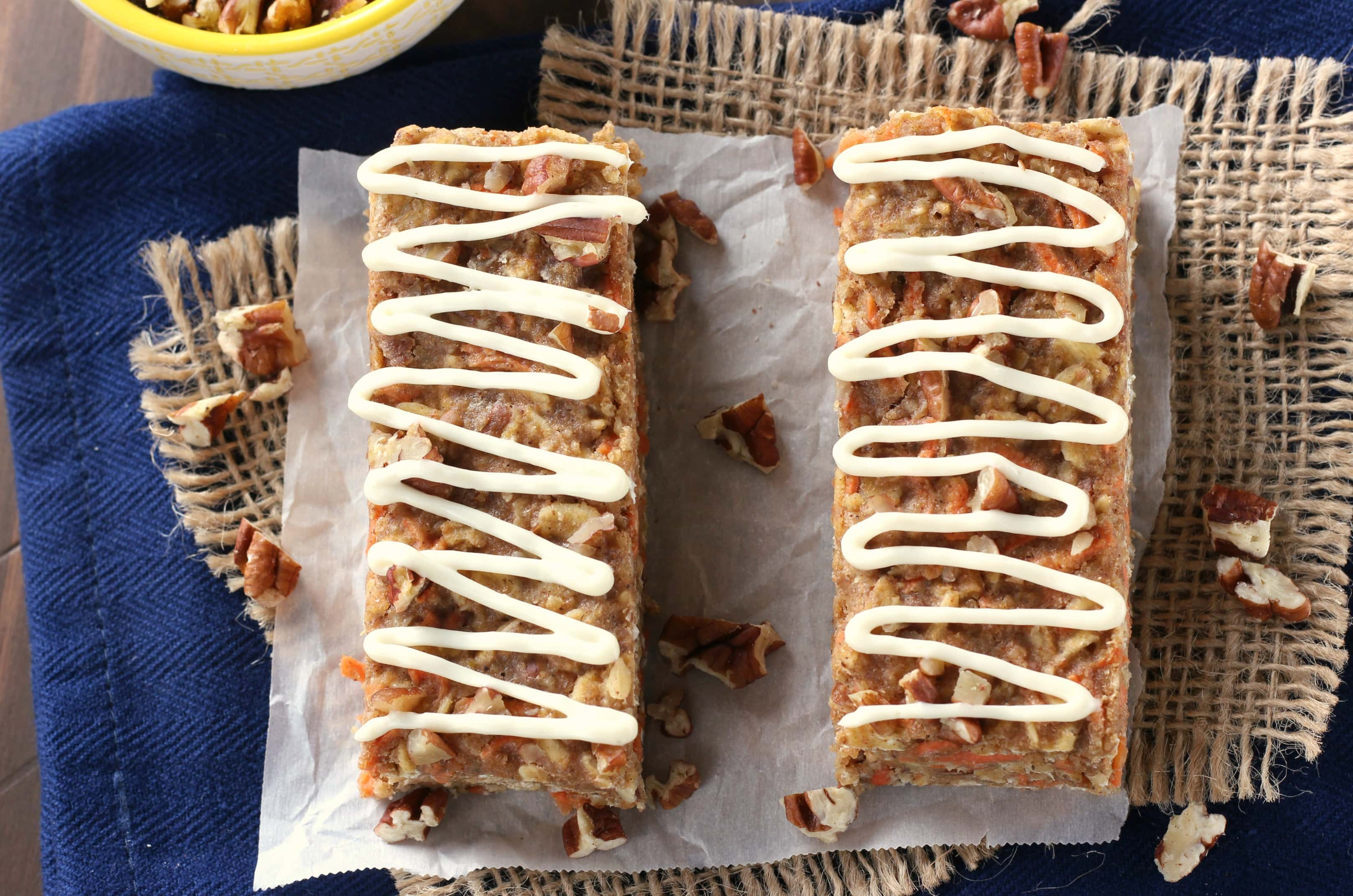 Carrot Cake Breakfast Bars Recipe from A Kitchen Addiction