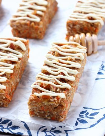 Carrot Cake Breakfast Bars with Honey Cream Cheese Drizzle Recipe from A Kitchen Addiction