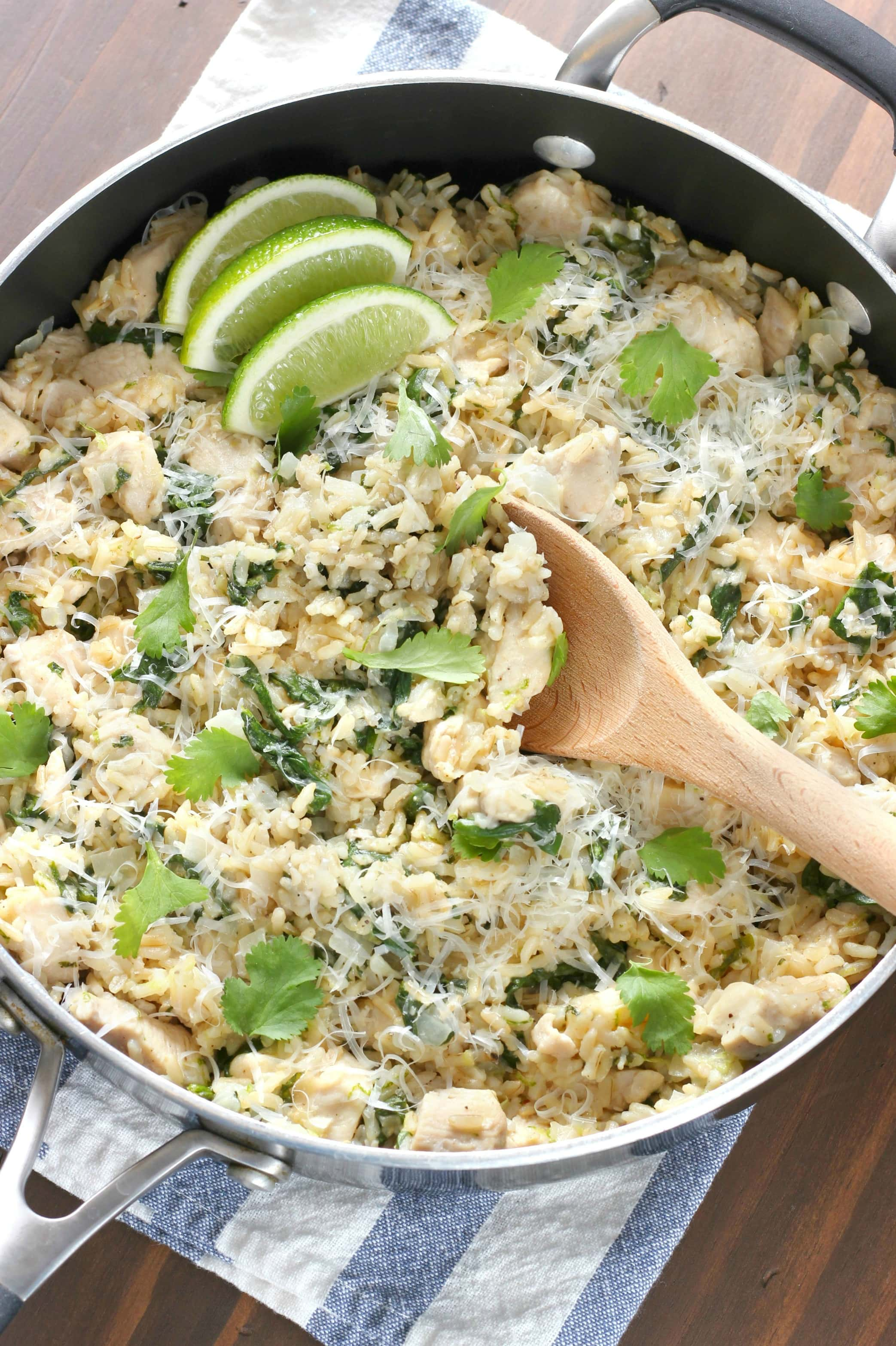 Cilantro Lime Chicken with Rice Skillet Recipe from A Kitchen Addiction