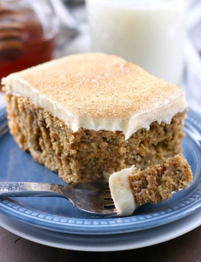 Cinnamon Banana Cake with Honey Cream Cheese Frosting {Whole Wheat}