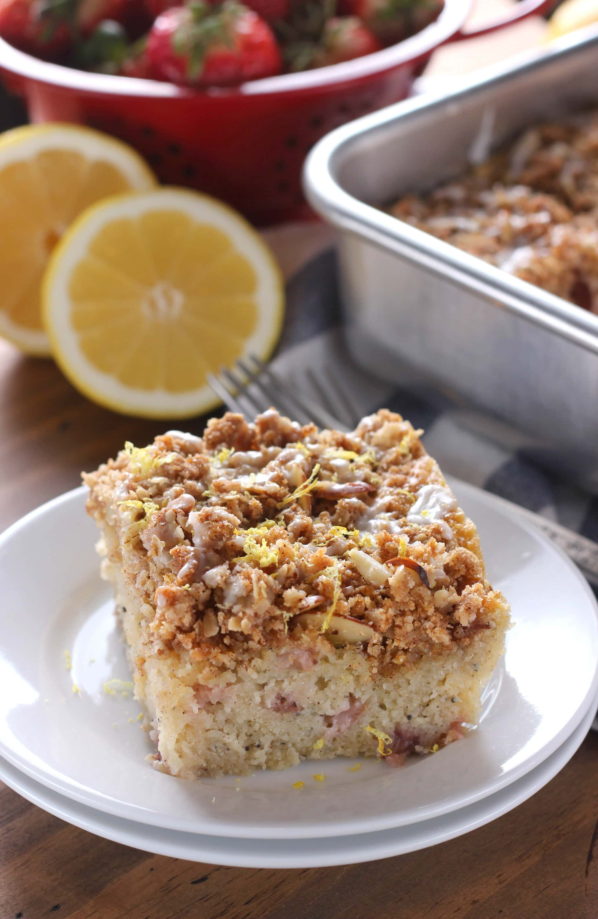 Gluten Free Strawberry Lemon Poppy Seed Coffee Cake Recipe from A Kitchen Addiction