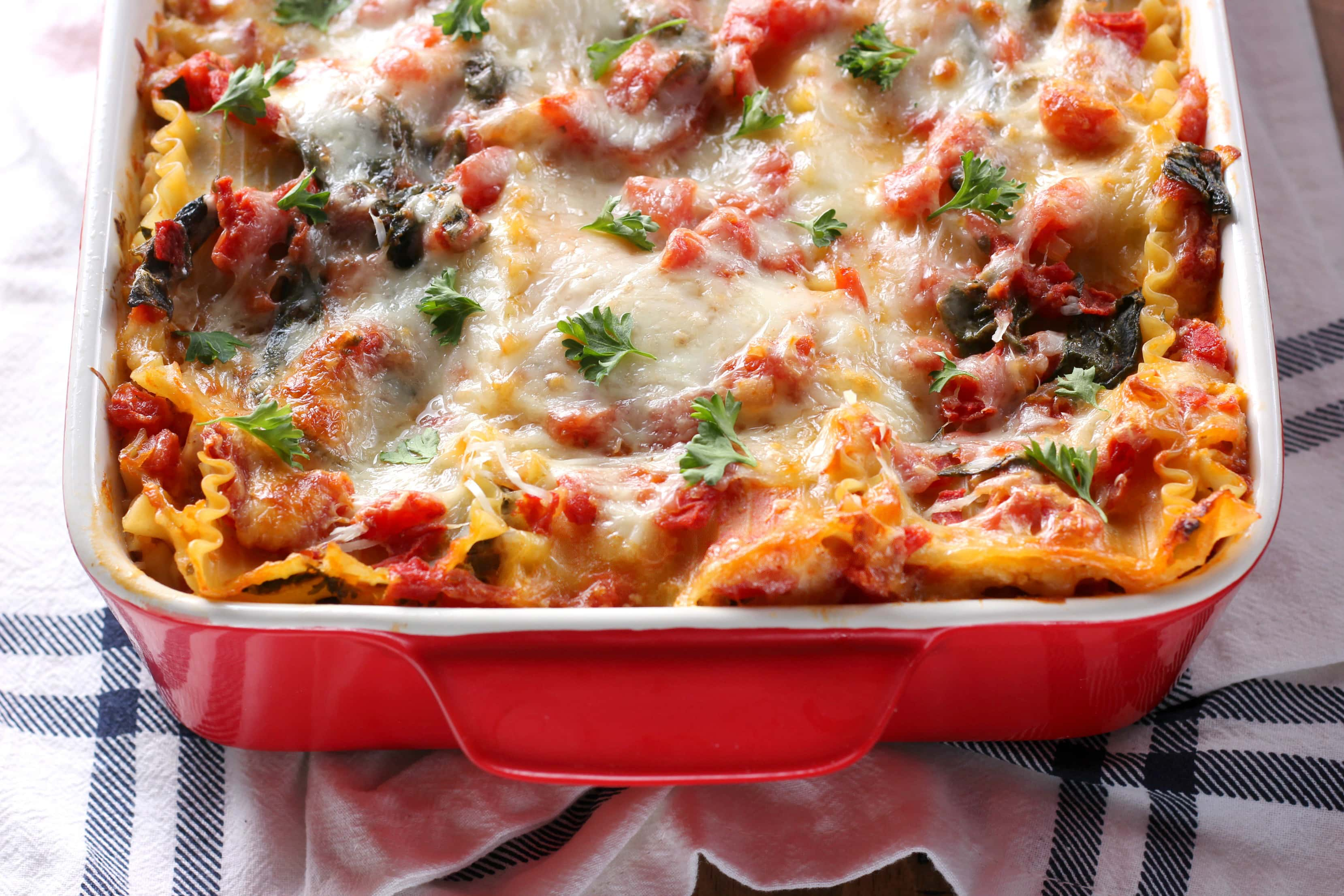 Cheesy Spinach Lasagna Recipe from A Kitchen Addiction