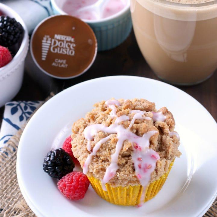 Blackberry Raspberry Coffee Cake Muffins Recipe with Nescafe