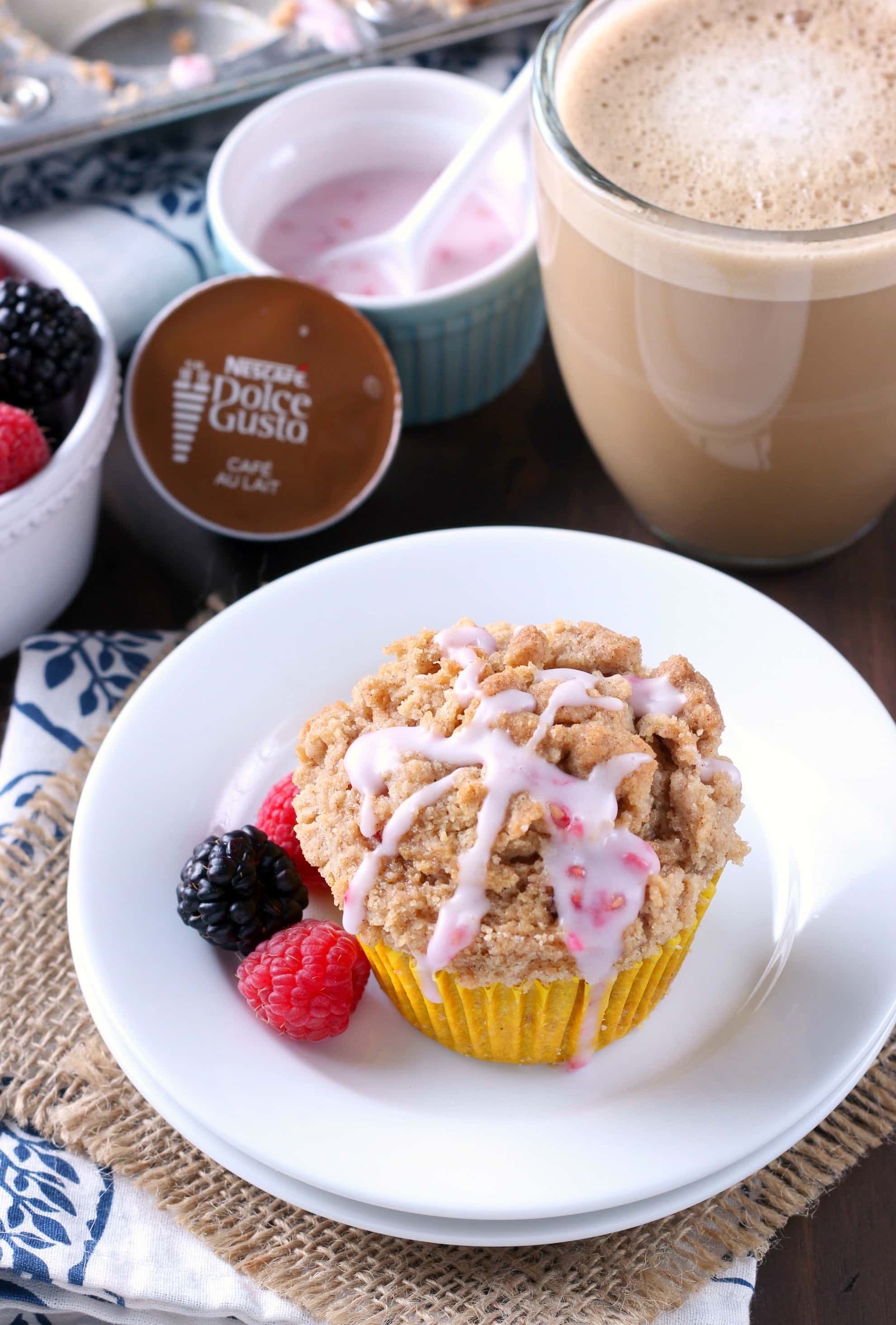 Blackberry Raspberry Coffee Cake Muffins Recipe with Nescafe