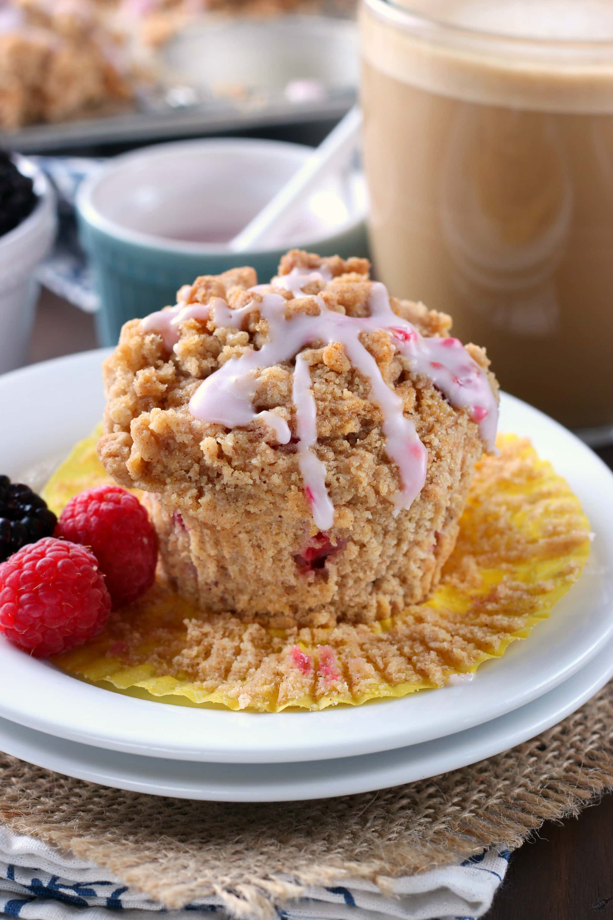 Blackberry Raspberry Coffee Cake Muffins Recipe from A Kitchen Addiction