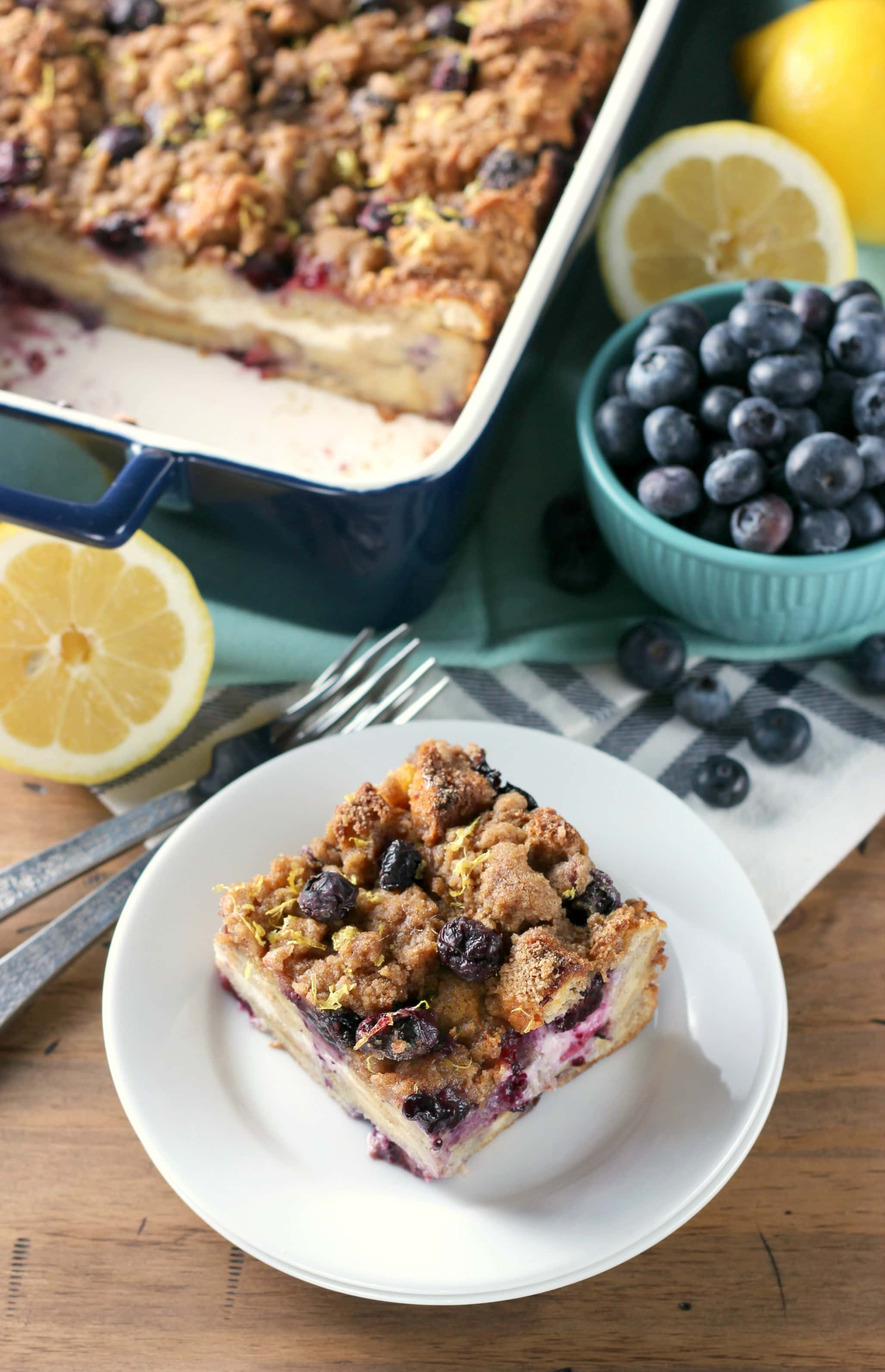 Easy Blueberry Lemon Cream French Toast Bake Recipe from A Kitchen Addiction