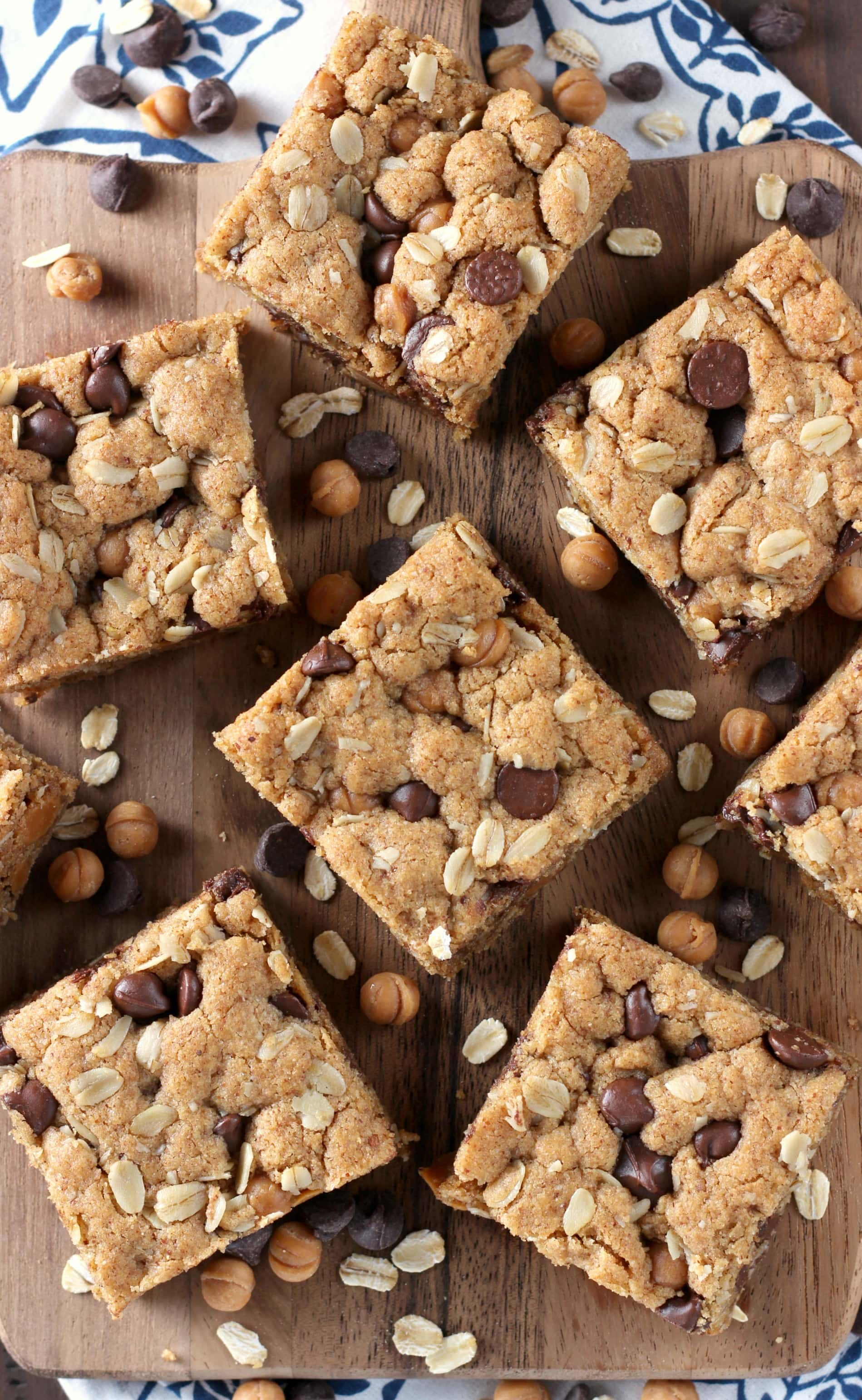 Chocolate Caramel Almond Butter Oat Bars Recipe from A Kitchen Addiction