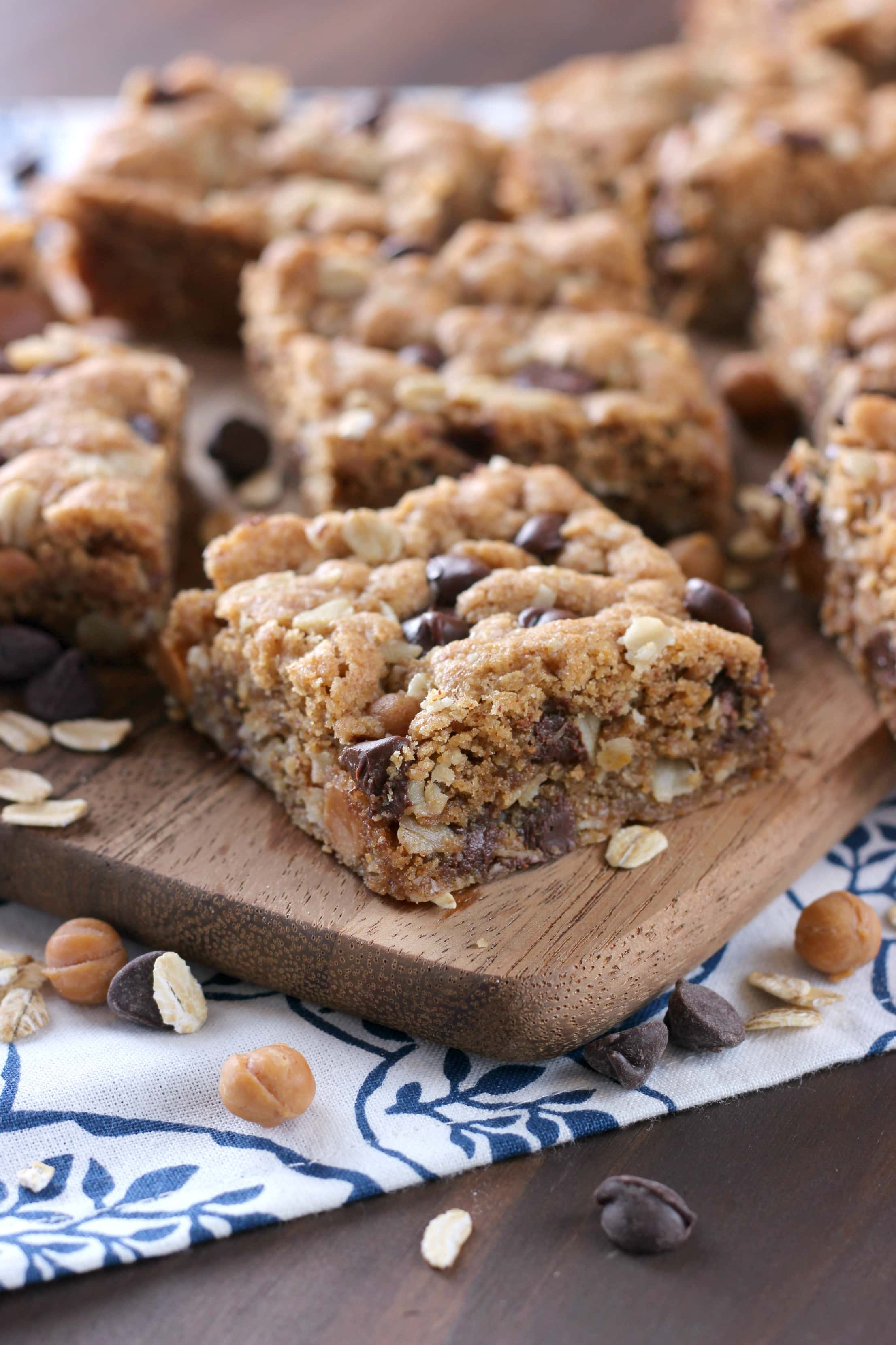 Chocolate Caramel Almond Butter Oatmeal Bars Recipe from A Kitchen Addiction