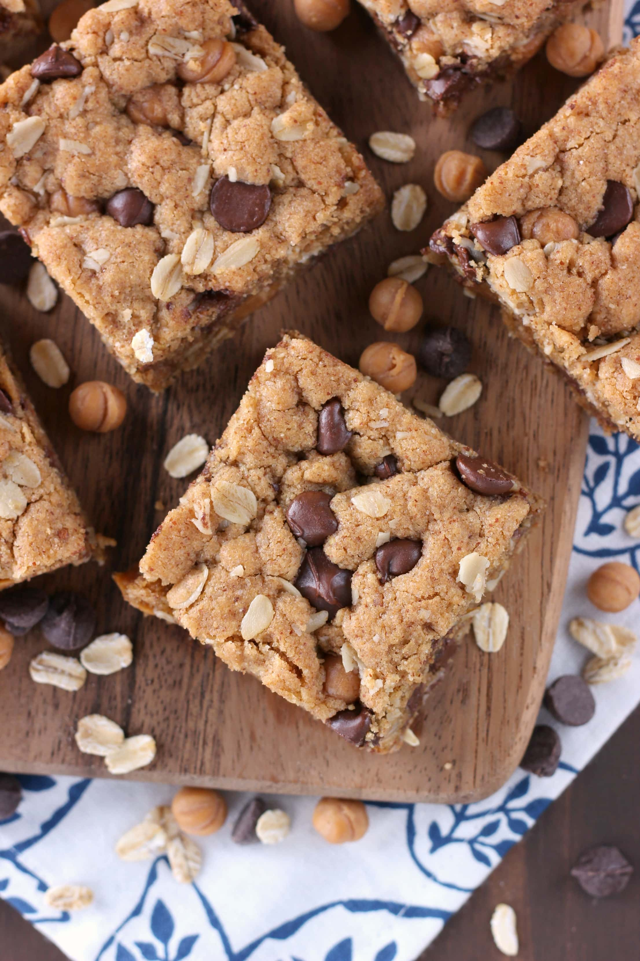 Easy Chocolate Caramel Almond Butter Bars Recipe from A Kitchen Addiction