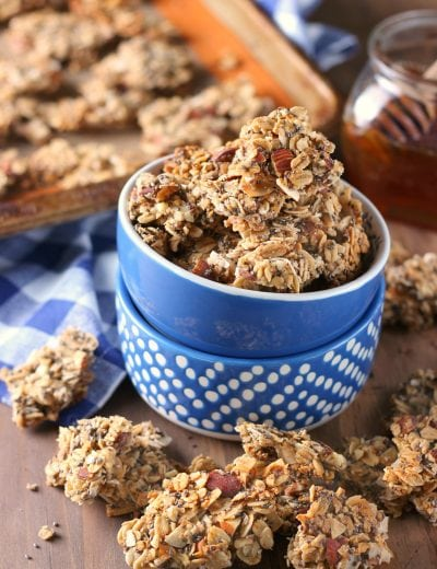 Coconut Honey Almond Granola Clusters Recipe from A Kitchen Addiction