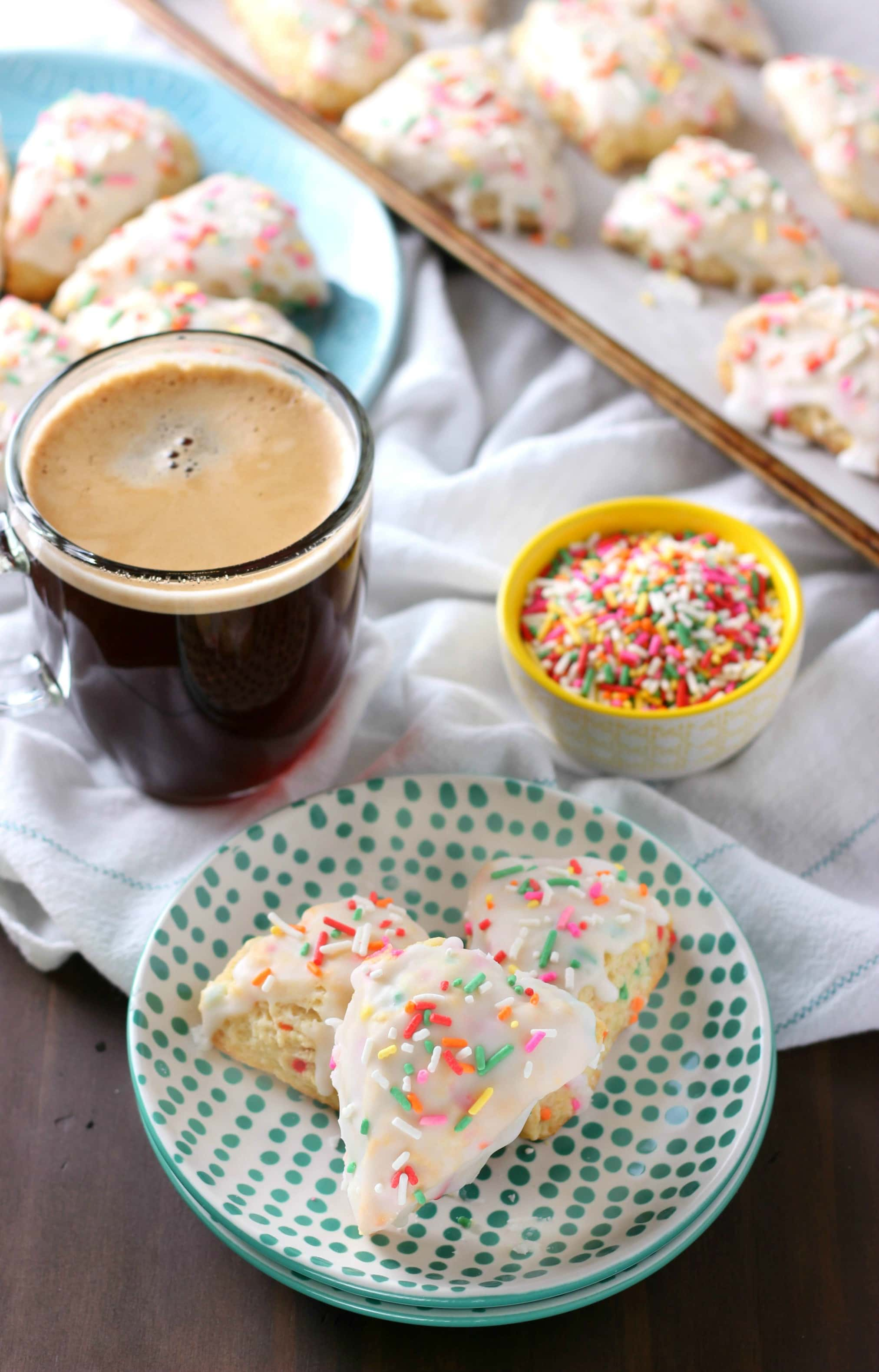 Mini Sprinkle Scones Recipe with Coffee from A Kitchen Addiction