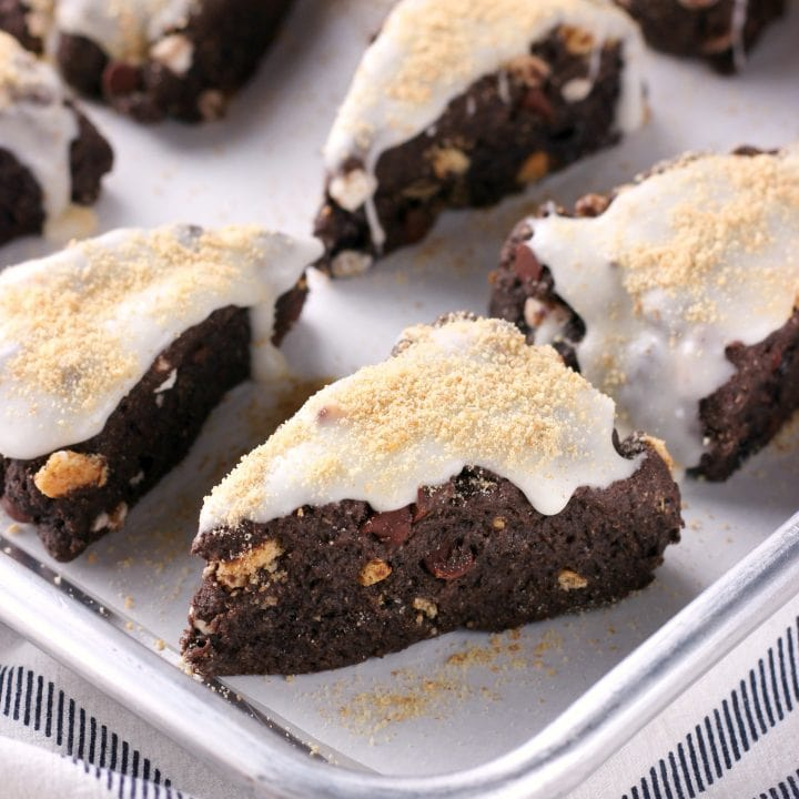 Mini Dark Chocolate Smores Scones Recipe from A Kitchen Addiction