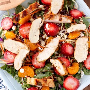 Grilled Citrus Chicken with Strawberry Harvest Salad Recipe from A Kitchen Addiction