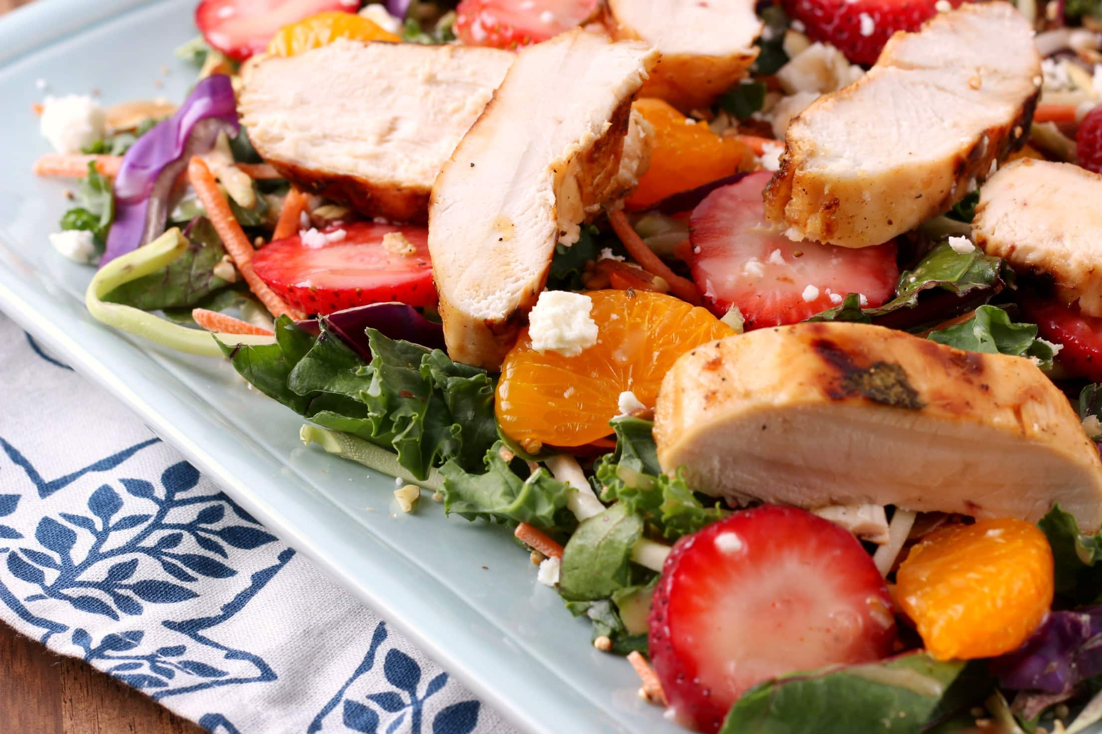 Grilled Citrus Chicken with Strawberry Salad from A Kitchen Addiction