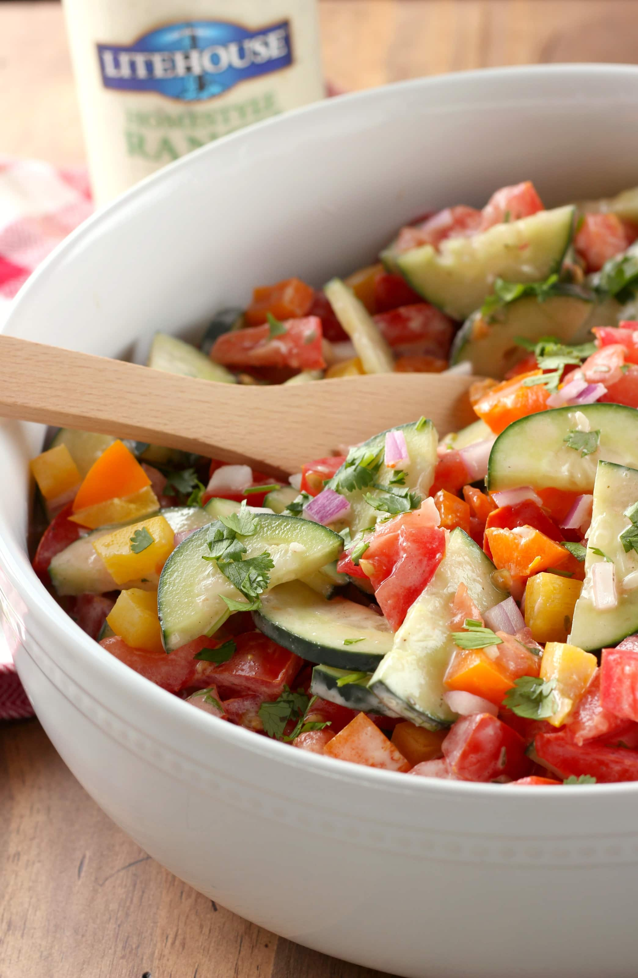 Ranch Tomato Cucumber Salad with Litehouse Dressing
