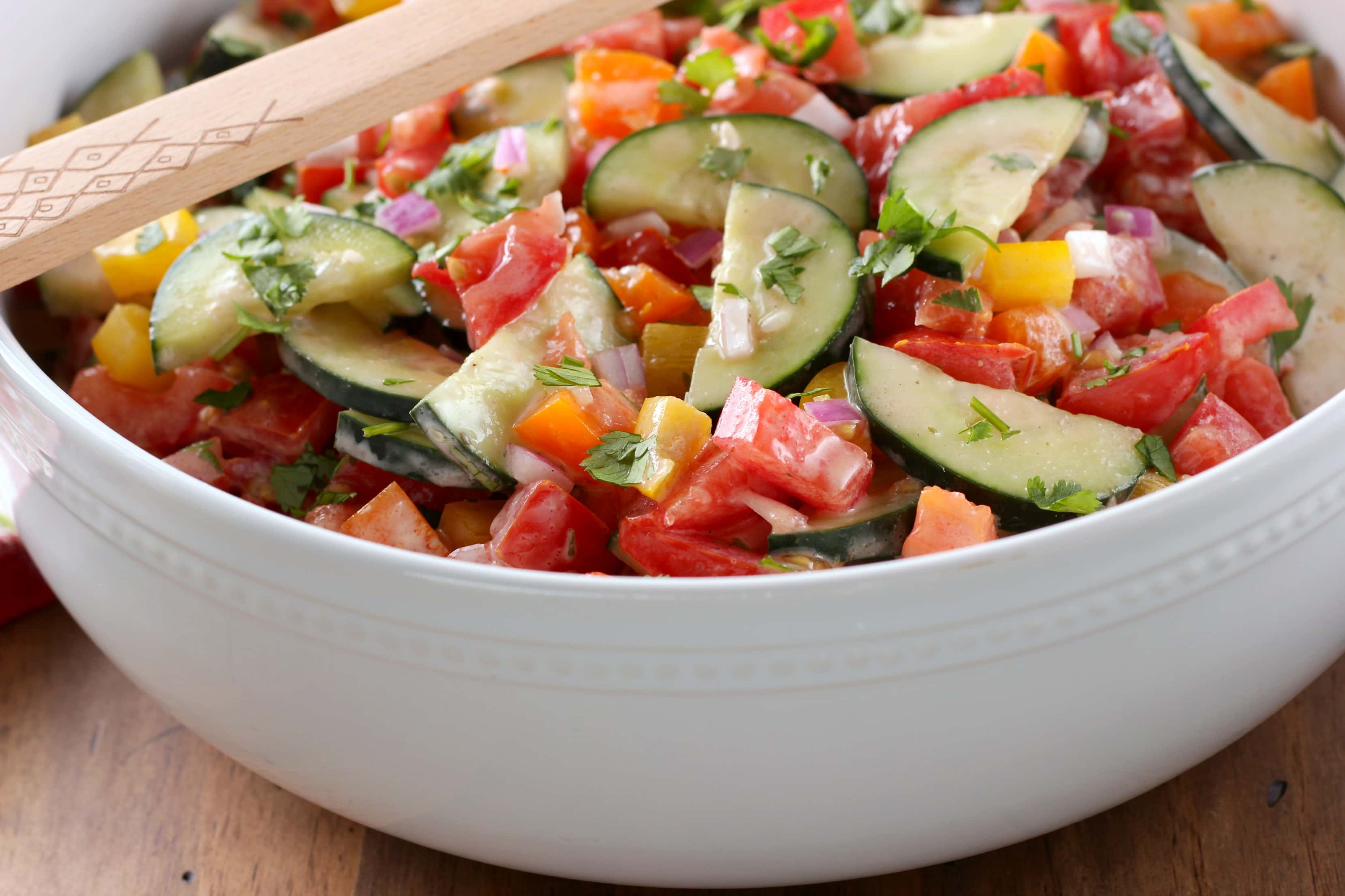 Creamy Ranch Tomato Cucumber Salad Recipe